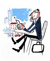 携帯をさわる男性