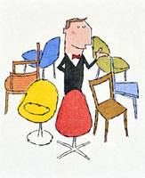 店員と店員を囲む椅子
