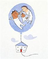 赤ちゃんと夫婦と家 20037001030| 写真素材・ストックフォト・画像・イラスト素材|アマナイメージズ