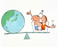 シーソーの上の家族と地球 20037001047| 写真素材・ストックフォト・画像・イラスト素材|アマナイメージズ