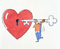 ハートの鍵穴と男性 20037001057| 写真素材・ストックフォト・画像・イラスト素材|アマナイメージズ
