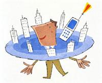 街とビジネスマンと携帯 20037001060| 写真素材・ストックフォト・画像・イラスト素材|アマナイメージズ