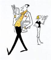 本を読む男性と女性