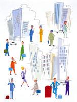 オフィス街とそこで働く人々 20037001104| 写真素材・ストックフォト・画像・イラスト素材|アマナイメージズ