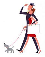 犬とショッピングに出かけるカップル