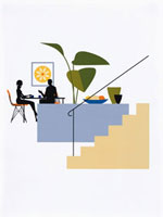 テーブルに座る男性と女性 20037001190| 写真素材・ストックフォト・画像・イラスト素材|アマナイメージズ