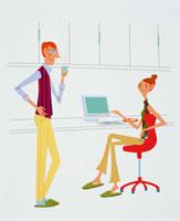 オフィスの中の男性と女性