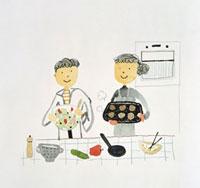 料理をする夫婦 20037001337  写真素材・ストックフォト・画像・イラスト素材 アマナイメージズ