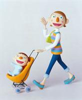 ベビーカーをおすお母さん 20037001437| 写真素材・ストックフォト・画像・イラスト素材|アマナイメージズ