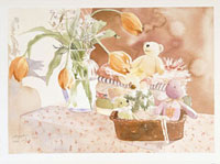 テーブルの上の花とくまのぬいぐるみ 20037001510| 写真素材・ストックフォト・画像・イラスト素材|アマナイメージズ