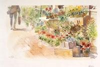 街の花屋の風景