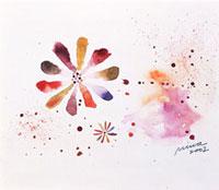 カラフルな花(水彩)