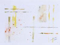 交差する複数の線と飛び散る色