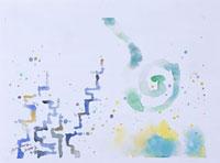 青い渦巻きと線(水彩) 20037001528| 写真素材・ストックフォト・画像・イラスト素材|アマナイメージズ