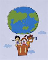 地球柄の気球にのる子供たち