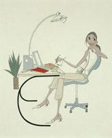 書斎で電話をする女性 20037001634| 写真素材・ストックフォト・画像・イラスト素材|アマナイメージズ