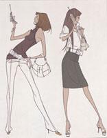 携帯をもつ女性2人 20037001691| 写真素材・ストックフォト・画像・イラスト素材|アマナイメージズ