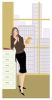 窓の前で電話をする女性 20037001706| 写真素材・ストックフォト・画像・イラスト素材|アマナイメージズ