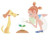 植物に水をやる女の子と犬