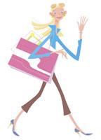 紙袋を肩からさげる女性 20037001739| 写真素材・ストックフォト・画像・イラスト素材|アマナイメージズ