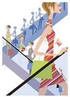 エスカレータで移動する人たち 20037001760| 写真素材・ストックフォト・画像・イラスト素材|アマナイメージズ