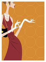手袋をする赤いドレス姿の女性