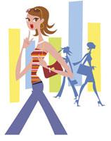 街をあるく女性 20037001764| 写真素材・ストックフォト・画像・イラスト素材|アマナイメージズ