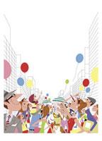 風船と人々 20037001775| 写真素材・ストックフォト・画像・イラスト素材|アマナイメージズ