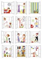マンションに住む人々の光景 20037001778| 写真素材・ストックフォト・画像・イラスト素材|アマナイメージズ