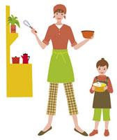 調理器具を手にする親子 20037001790  写真素材・ストックフォト・画像・イラスト素材 アマナイメージズ