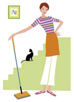 掃除をする女性 20037001791  写真素材・ストックフォト・画像・イラスト素材 アマナイメージズ
