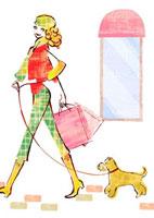 犬を連れショッピングする女性