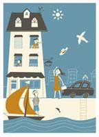 港町に住む人々のほのぼのとした風景 20037001899| 写真素材・ストックフォト・画像・イラスト素材|アマナイメージズ