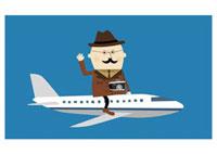 飛行機の上にまたがっているシニア男性 20037001903| 写真素材・ストックフォト・画像・イラスト素材|アマナイメージズ