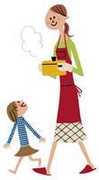 お鍋を運ぶお母さんと横を歩く娘 20037001912| 写真素材・ストックフォト・画像・イラスト素材|アマナイメージズ