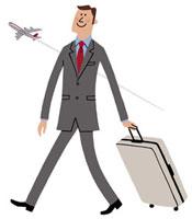 スーツケースを手に飛行機で出張に向かうビジネスマン 20037001914| 写真素材・ストックフォト・画像・イラスト素材|アマナイメージズ