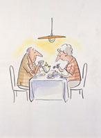 お茶を楽しむ老夫婦