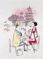 カフェでお茶をする男女 20037001927| 写真素材・ストックフォト・画像・イラスト素材|アマナイメージズ