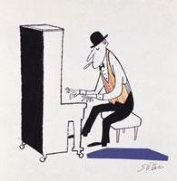 葉巻をくわえピアノを演奏する男性