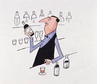 バーカウンターでお酒の瓶を眺めるバーテンダー