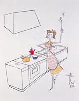 キッチンでおたまを手にして踊る女性