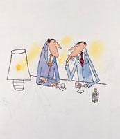 会社帰りにバーでお酒を飲みながら語るビジネスマン2人 20037001932| 写真素材・ストックフォト・画像・イラスト素材|アマナイメージズ