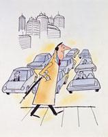 通勤ラッシュ時に横断歩道を渡る男性