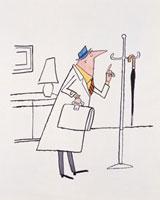 ポールハンガーにある傘を指差すビジネスマン 20037001934| 写真素材・ストックフォト・画像・イラスト素材|アマナイメージズ