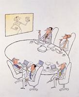 オフィスでミーティングをする人々