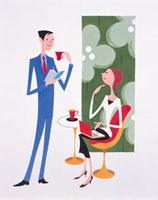 お茶を飲みながら意見交換をする男女