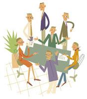 オフィスで会議する人々