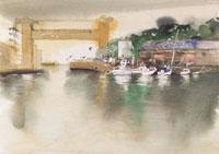 水門と漁船