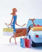 ショッピングバックを持つ女性とオープンカーにいる犬
