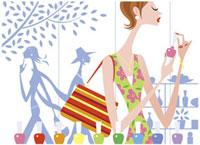 店でマニキュアをする女性 20037002190  写真素材・ストックフォト・画像・イラスト素材 アマナイメージズ